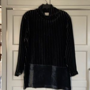 Black soft velour top with white stripes